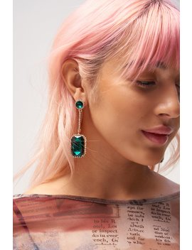 Green Gem Drop Earrings by Jaded London
