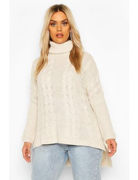 Plus Cable Roll Neck Oversized Jumper by Boohoo