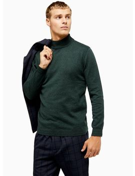 Only & Sons Green High Roll Neck Knitted Jumper by Topman