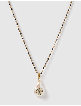 Ojo Baroque Pearl & Navy Stone Pendant Necklace by Arms Of Eve