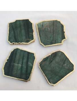 Sage Green Agate Aventurine Set Of 4 Large Coasters/Personalised Momentos by Etsy