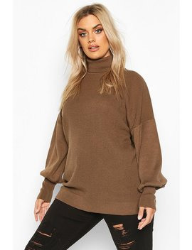 Plus Knitted Balloon Sleeve High Neck Jumper by Boohoo