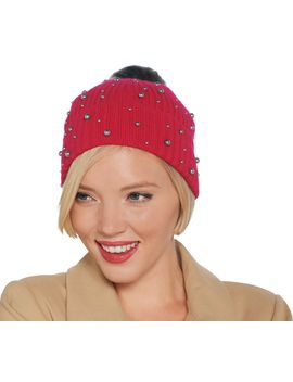 Isaac Mizrahi Live! 2 Ply Cashmere Hat W/ Faux Pearls And Faux Fur Pompom by Isaac Mizrahi Live!Tm