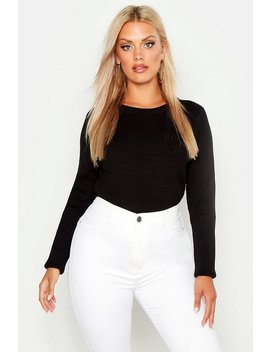 Plus Ribbed Crew Neck Jumper by Boohoo