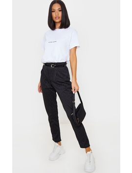 Black Pinstripe Belted Skinny Pants by Prettylittlething