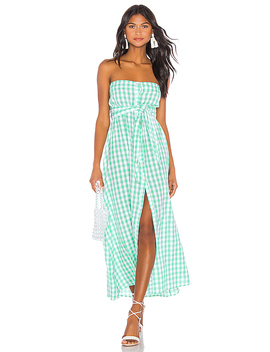 Chateau Button Dress In Mint Gingham by Anaak