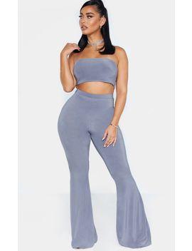 Shape Lead Grey Slinky Flared Pants by Prettylittlething