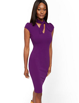 Bow Neck Sheath Dress   Magic Crepe® by New York & Company
