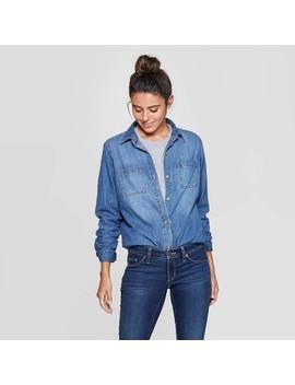Women's Long Sleeve Collared Labette Denim Woven Shirt   Universal Thread™ Blue by Universal Thread