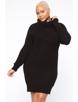 Fighting The Truth Sweater Dress   Black by Fashion Nova