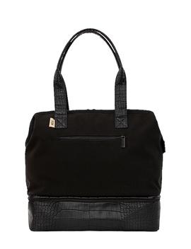Mini Weekend Bag In Black & Croc Trim by Beis