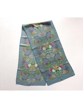 Scottish Thistle Blue Silk Scarf William Morris Inspired Scottish Wedding Scarf Floral Long Silk Scarf by Etsy
