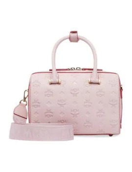 Essential Monogrammed Leather Boston Bag by Mcm