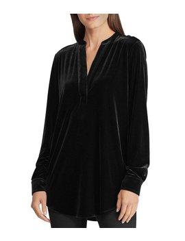 Stretch Velvet V Neck Long Sleeve Blouse by Lauren Ralph Lauren