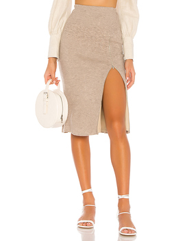 Paisley Skirt In Cobblestone Taupe by Lovers + Friends