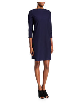 Petite 3/4 Sleeve Washable Stretch Crepe Dress by Eileen Fisher