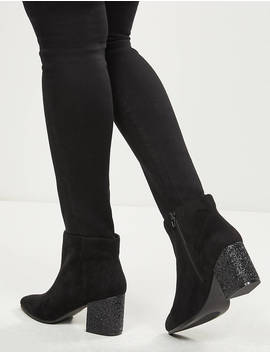Stella Faux Suede Glitter Heel Ankle Boot by Lane Bryant