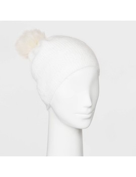 Women's Plush Beanie With Pom   A New Day™ One Size by A New Day