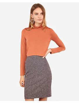 High Waisted Tweed Clean Front Pencil Skirt by Express