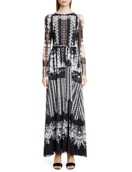 Lace Print Belted Long Sleeve Maxi Dress by Fuzzi