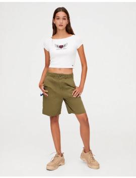 Sloganlı Geniş Yaka T Shirt by Pull & Bear