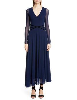 Velvet Detail Long Sleeve Asymmetrical Maxi Dress by Fuzzi