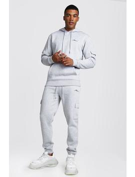 Man Signature Cargo Hooded Tracksuit by Boohoo