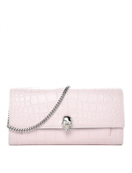 Alexander Mcqueen Crocodile Embossed Calfskin Skull Wallet On Chain Baby Pink by Alexander Mc Queen