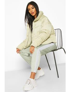 Cropped Panelled Funnel Neck Puffer by Boohoo