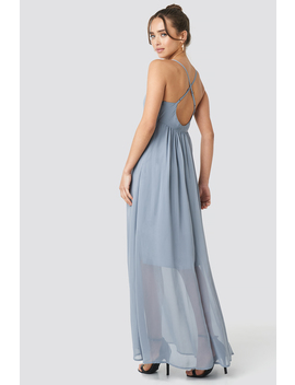 V Neck Cross Back Maxi Dress Beżowy by Na Kd Party