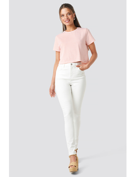 High Waist Skinny Jeans Wit by Na Kd