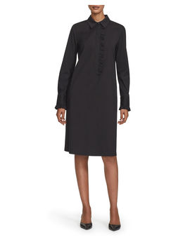 Fiona Long Sleeve Ruffle Trim Stretch Cotton Dress by Lafayette 148 New York