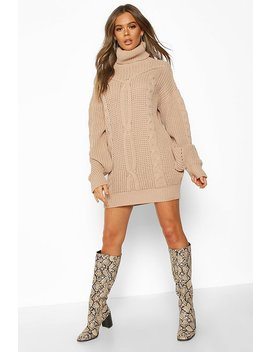 Oversized Roll Neck Cable Dress by Boohoo