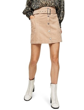 Corduroy Button Belted Miniskirt by Topshop