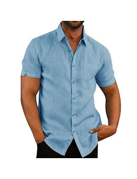 Men Shirt Slim Fit Short Sleeve Cotton Linen Casual Shirt Top Summer Solid Slim Tops by Ali Express.Com