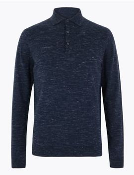 Knitted Long Sleeve Polo Shirt by Marks & Spencer