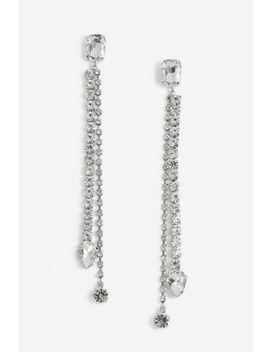 **Double Drop Crystal Earrings by Topshop