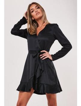 Black Satin Ruffle Wrap Tea Dress by Missguided