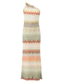 One Shoulder Zigzag Knitted Gown by Missoni