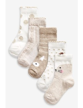 Oatmeal 5 Pack Character Socks by Next