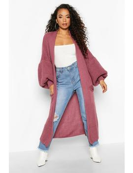 Petite Longline Balloon Sleeve Knitted Cardigan by Boohoo