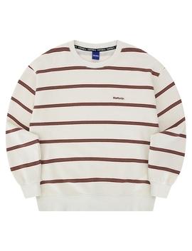 Napping Stripe Sweatshirt Beige by Staffonly