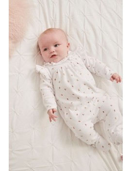 White Floral Velour Sleepsuit (0mths 2yrs) by Next