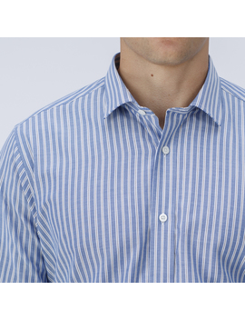 Example Styles Blue Oxford Dress Shirt With White Stripes by Tailor Store