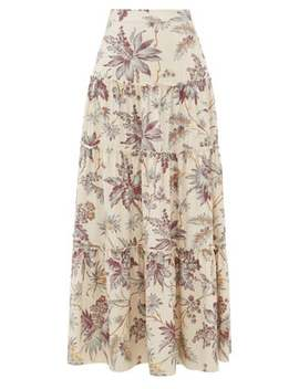Avery Floral Print Tiered Silk Maxi Skirt by Sir