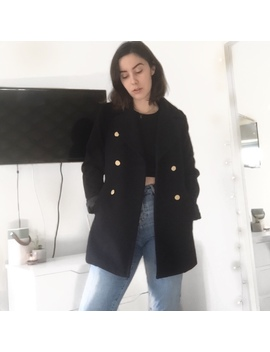 New Look Navy Blue Peacoat | Size 8 |  Gold Button by Depop