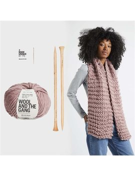 Wool And The Gang Triple Threat Scarf Knitting Kit Mellow Mauve by Wool & The Gang