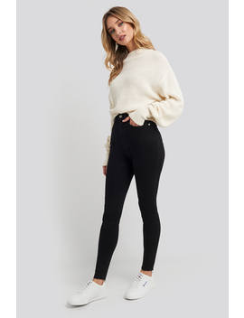Super High Waist Skinny Jeans Svart by Na Kd