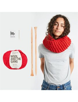 Wool And The Gang Snood Operator Scarf Knitting Kit Lipstick Red by Wool & The Gang