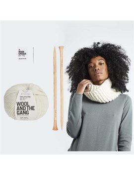 Wool And The Gang Snood Operator Scarf Knitting Kit Ivory White by Wool & The Gang